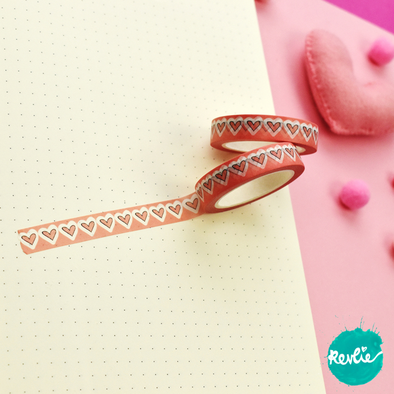 Salmon Hearts washi tape 10 mm - Billie