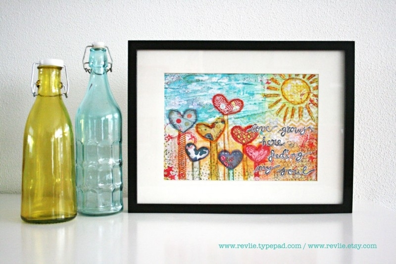 "Mixed Media A4 Art Print van mijn originele canvas ""Love grows here feeding my soul"", mooi home decor"
