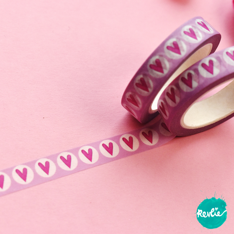 Pink Heart washi tape 10 mm - Pinkie
