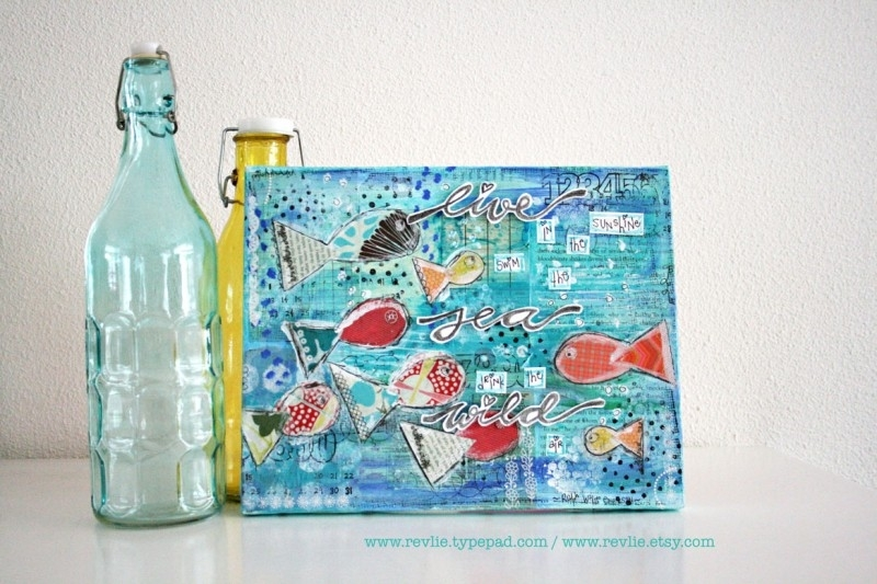 "Mixed Media A4 Art Print van mijn originele canvas ""Live in the sunshine..."", mooi home decor"