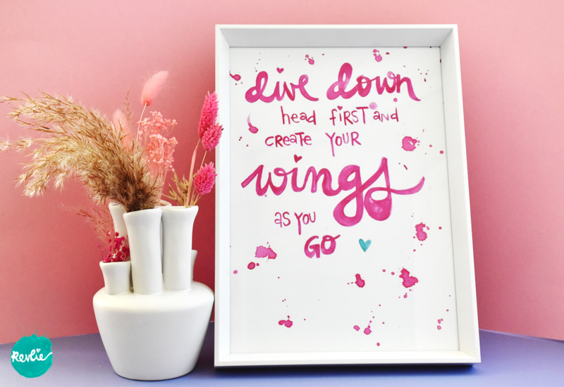"""NIEUW: Quote Poster - Print A4 21 x 29,7 cm """"DIVE DOWN"""" - unieke home decor"""