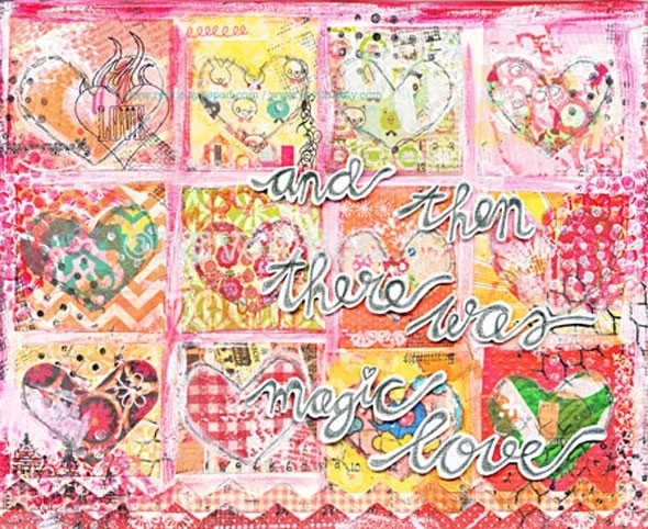 """originele ART mixed media canvas """"and then there was magic love"""""""