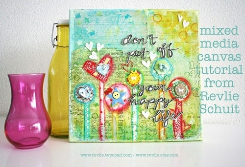 Hoe maak je een mooie mixed media canvas - pdf tutorial - REV IT UP