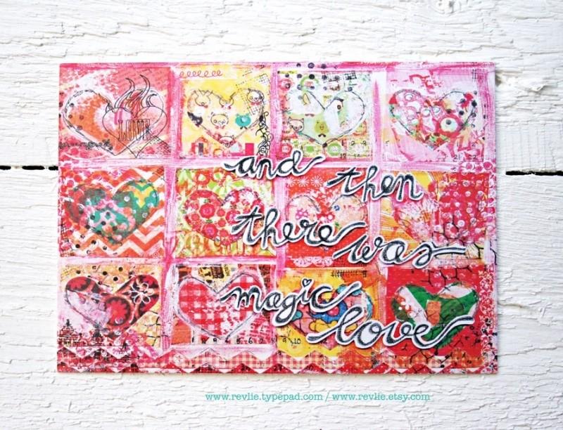 "mixed media ansichtkaart REVitup ""magic love"""