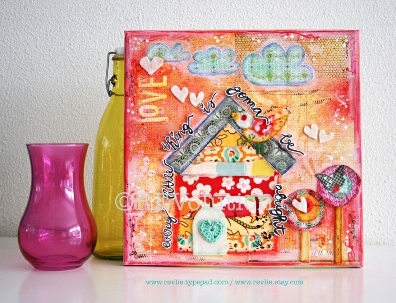 "originele ART mixed media canvas ""every little thing is gonna be alright"""