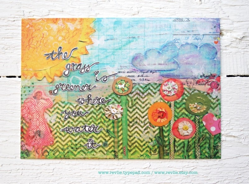 "mixed media ansichtkaart REVitup ""the grass is greener"""