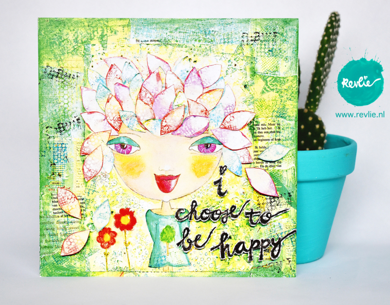 "mixed media ansichtkaart REVitup ""i choose to be happy"""