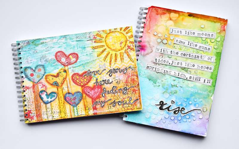 "Art Journal Revlie ""love grows here feeding my soul"""