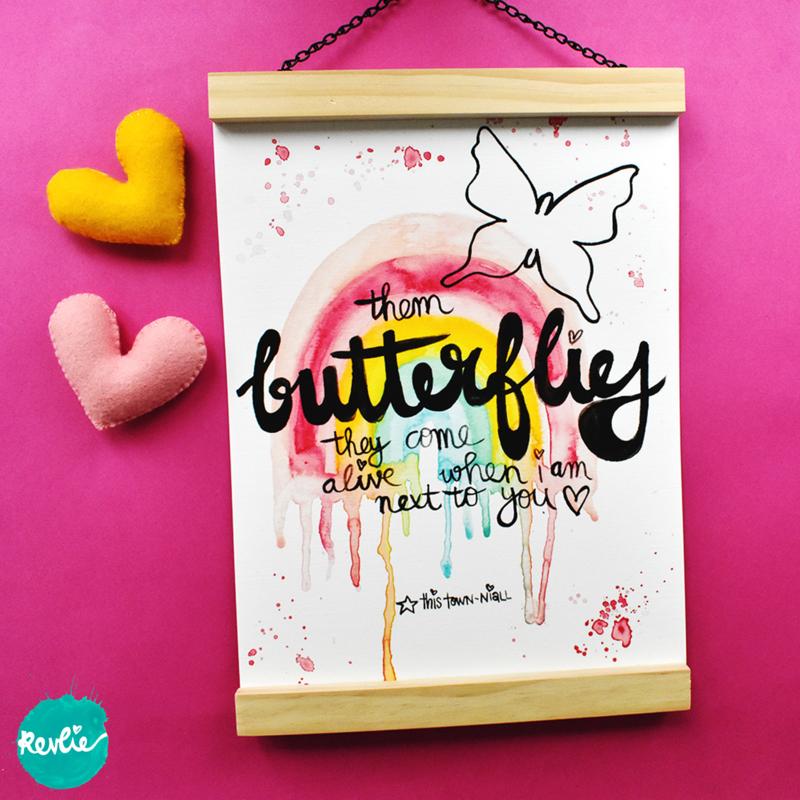 """NIEUW: Quote Poster - Print A4 21 x 29,7 cm """"BUTTERFLIES"""" - regenboog, unieke home decor"""