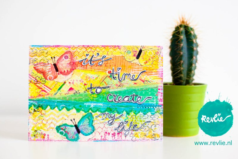 "mixed media ansichtkaart REVitup ""create my life"""
