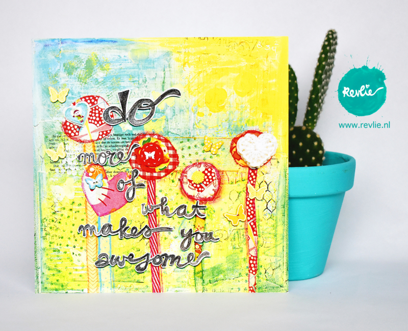 "mixed media ansichtkaart REVitup ""do more of what makes you awesome"""