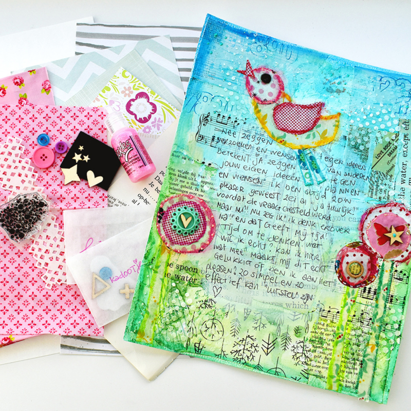 Online les + KIT Mixed Media BIRDS, OOK voor kids!