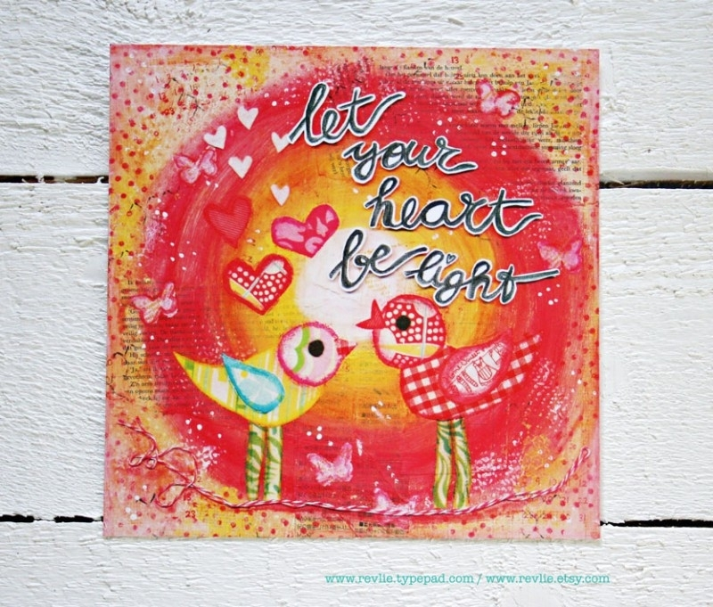 """mixed media ansichtkaart REVitup """"let your heart"""""""