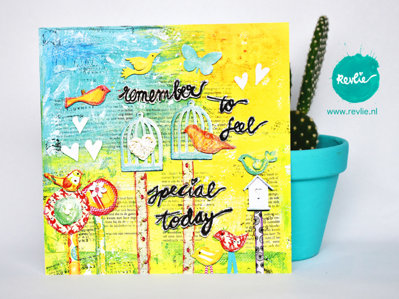 "mixed media ansichtkaart REVitup ""remember to feel special today"""