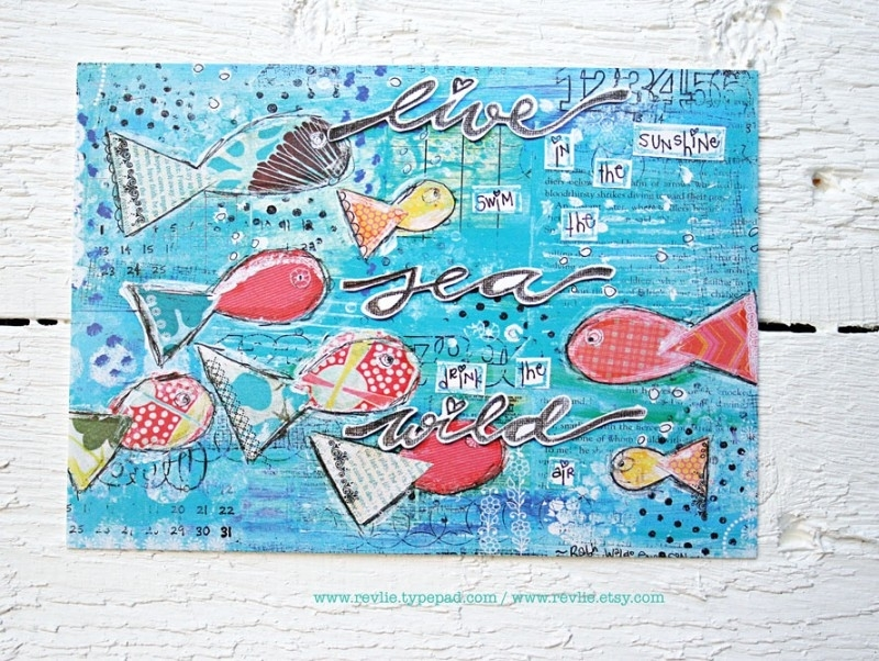 """mixed media ansichtkaart REVitup """"live in the sunshine"""""""