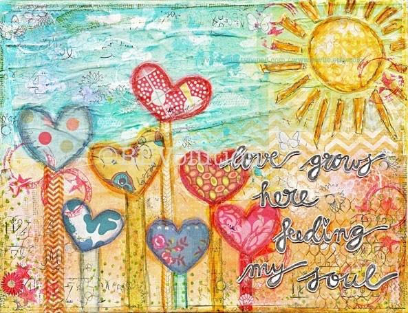 "originele ART mixed media canvas ""love grows here, feeding my soul"""