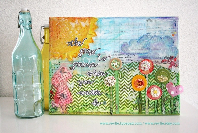 "Mixed Media A4 Art Print van mijn originele canvas ""the grass is greener..."", mooi home decor"