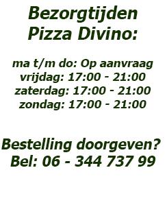 Bezorgtijden Pizza Divino