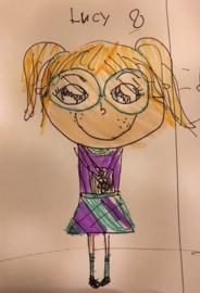 Knuffel van tekening: knuffel meisje lucy