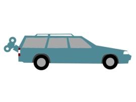 Knuffel geboortekaartje: volvo auto knuffel