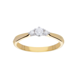 Gouden trinity damesring met diamant en een uitgewerkte hartvorm in de  zetting aan de zijkant