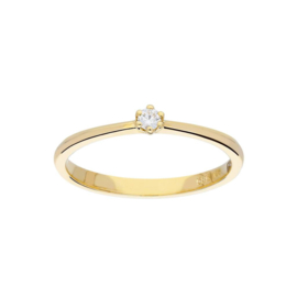 Geel of wit gouden chatonzetting damesring met diamant 0,05 ct