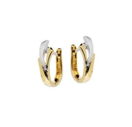 Gouden bi-color creolen  met diamant