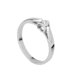 Witgouden damesring met 0.02crt diamant en een uitgewerkte hartvorm in de zetting aan de zijkant