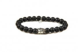 KARMA armband Black is Black Silver Buddha