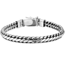 Zilveren massieve geoxideerde armband 6mm