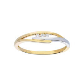 Gouden bi-color fantasie damesring met diamant 0,05 ct