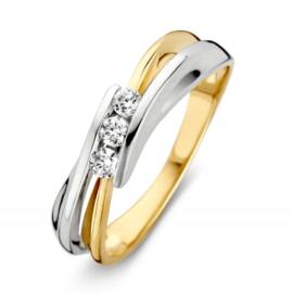 Gouden bicolor ring met zirkonia's