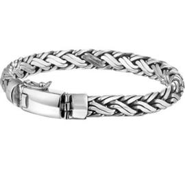 Zilveren massieve geoxideerde armband 8mm