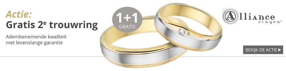 Gouden trouwringen, 1+1 ring gratis - Juwelier Wagenaar