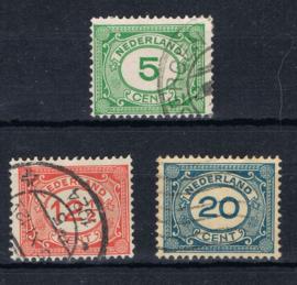 NEDERLAND 1921 NVPH 107-109 GESTEMPELD ++ L 535-1