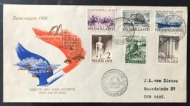NEDERLAND 1950 FDC E1 OPEN KLEP CERTIFICAAT