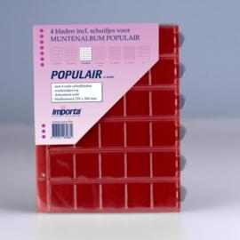 4 x 30-vaks populair muntbladen (voor o.a. € 2 munten) met rode schutbladen Geschikt voor 120 munten