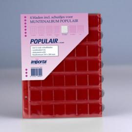 4 x 42-vaks populair muntbladen met rode schutbladen Geschikt voor 168 munten
