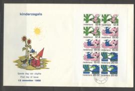 1968 NEDERLAND NVPH FDC KINDERZEGELS BLOK 917