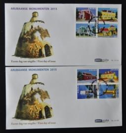 ARUBA 2015 FDC E 211 AB MONUMENTEN