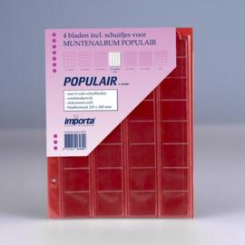 4 x 32-vaks populair muntbladen (voor complete € series) met rode schutbladen