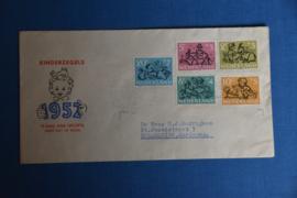 NEDERLAND 1952 FDC E11 OPEN KLEP