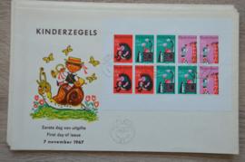 1967 NEDERLAND NVPH FDC KINDERZEGELS BLOK 875 ROTTERDAM