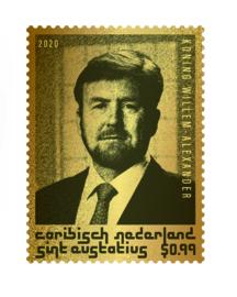 ST EUSTATIUS 2020 WILLEM ALEXANDER GOUDEN ZEGEL LEES