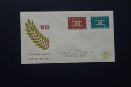 NEDERLAND 1963 FDC E59 GETYPT OPEN KLEP ++ VOORBEELD SCAN