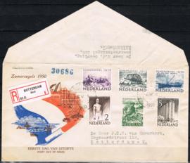 NEDERLAND 1950 FDC E1 OPEN KLEP DAGTEKENSTEMPEL