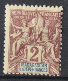 P 250 ++ MADAGASCAR 1896 ONGEBRUIKT HINGED