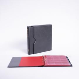 POPULAIR Classic Album incl. Cassette, Zwart met goudopdruk, incl. 5 muntbladen en rode schutbladen