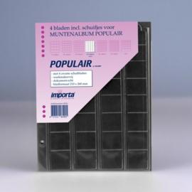4 x 32-vaks populair muntbladen (voor complete € series) met zwarte schutbladen