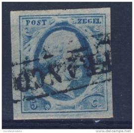 NEDERLAND 1852 NVPH 1 PLAAT VI GESTEMPELD ++ J 37